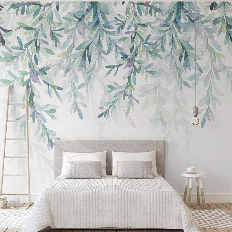 Custom Photo Mural 3D Wallpaper Modern Green Leaves Watercolor Nordic Style Fresco Living Room TV Bedroom 3D Tapety Home Decor