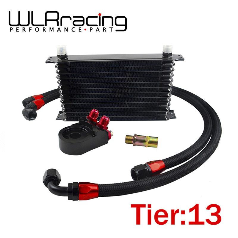 WLR - Universal 13 ROWS Trust type OIL COOLER + AN10 Oil Filter Cooler Sandwich Plate Adapter + 2PCS NYLON BRAIDED HOSE LINE vr universal 13 rows trust type oil cooler an10 oil sandwich plate adapter with thermostat 2pcs nylon braided hose line