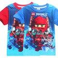 2017 Estilo verão Meninos Roupas T Camisa de Algodão Curta Camisa ninjago Crianças Camisetas Top tee Crianças Roupas Dos Desenhos Animados