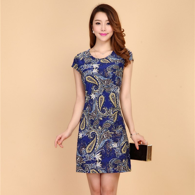 HANQIYAHULI 5XL 2018 Women style dress Slim Tunic Milk Silk print Floral Casual Plus Size vestido feminino loose dresses clothes 3