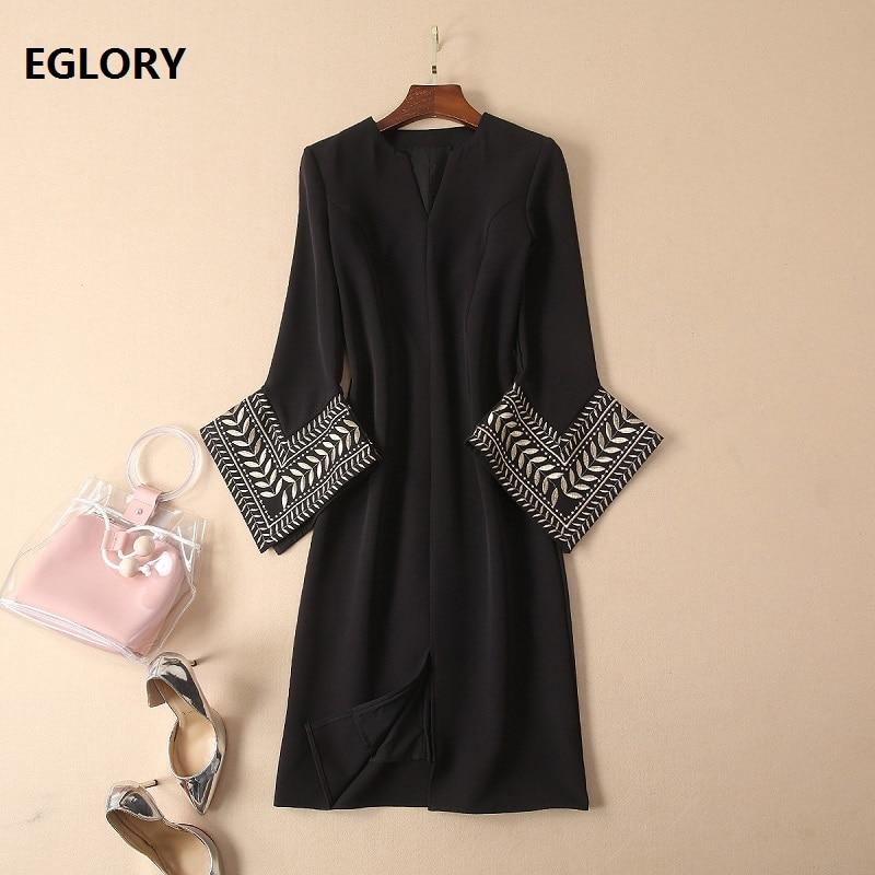 Top Grade Designer robe 2019 printemps mode Vestidos De Festa femmes v-cou Vintage broderie Flare manches fendues robe noire