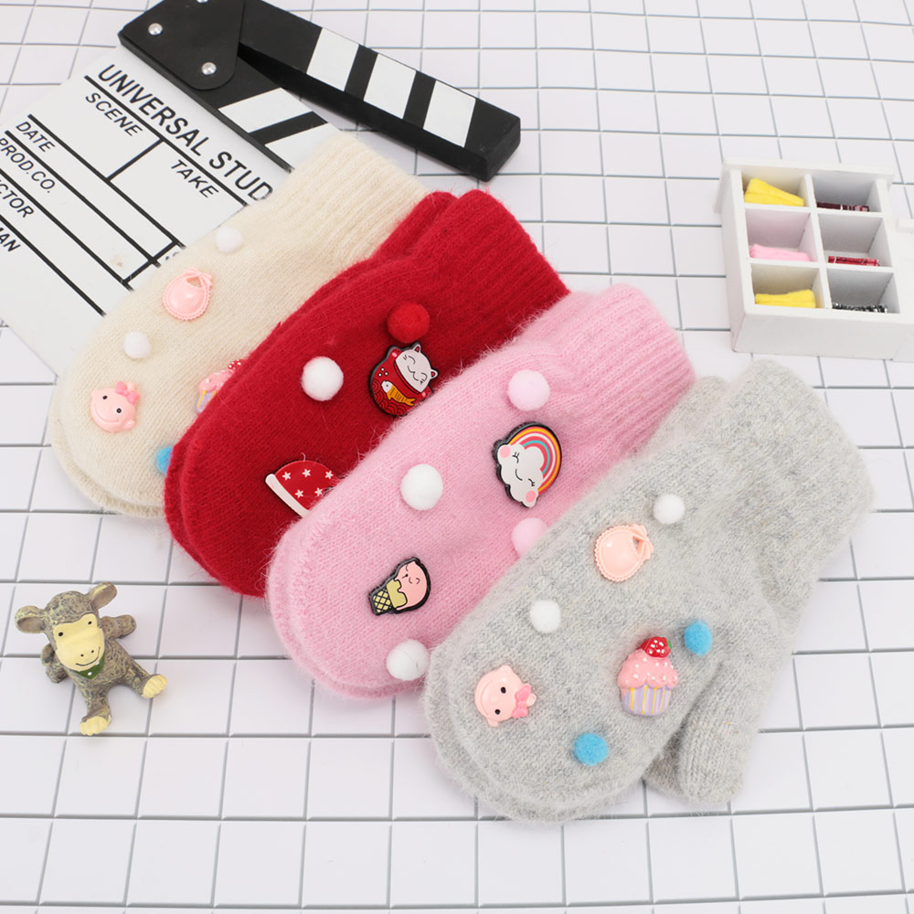 1 Pair Children Fashion Clothing Accessories Solid Beautiful Girls Boy Gloves Faux Rabbit Fur Winter Full Fingers Warm Mitten