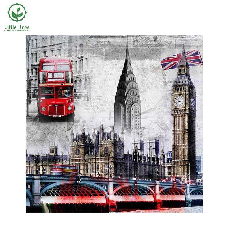 ④2017 DIY diamante pinturas costura Torre puente y autobús Londres ...