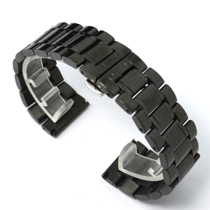 24mm High quality Solid Stainless Steel Watch Band Watch Strap Black Color GD013724