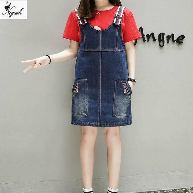 Xl 5xl Plus Size Fashion Summer Womens Elegant Pocket Strap Denim