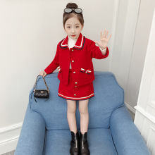 Модный детский осенне-зимний комплект одежды для девочек от 2 до 8 лет, шерстяной комплект одежды для девочек, пальто+ юбка, комплект из 2 предметов, комплекты для малышей