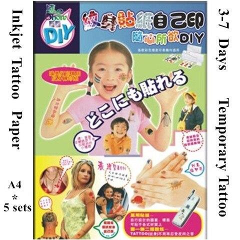 5 jogos lote jato de tinta papel de transferencia de tatuagem temporaria stitcker a4