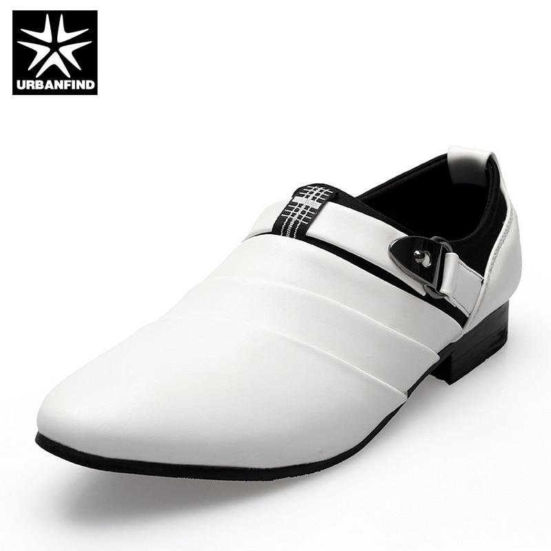 URBANFIND Business Men Formal Shoes Black / White Man Oxfords EU 39-44 Latest Style Pointed Toe Slip On Men Fashion Flats l facini business 39 36834 black lf