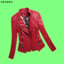 2017 Sale Top Fashion Full Chaquetas De Cuero Mujer Large Size Womens Leather Jacket Fashion V-neck Motorcycle Female Pu Zipper