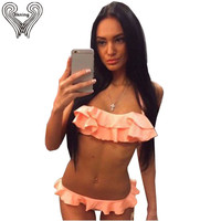 2016 New Ruffle Bikini Set Women Sweet Padded Swimsuit Vintage Micro Swimwear Maillot De Bain Halter