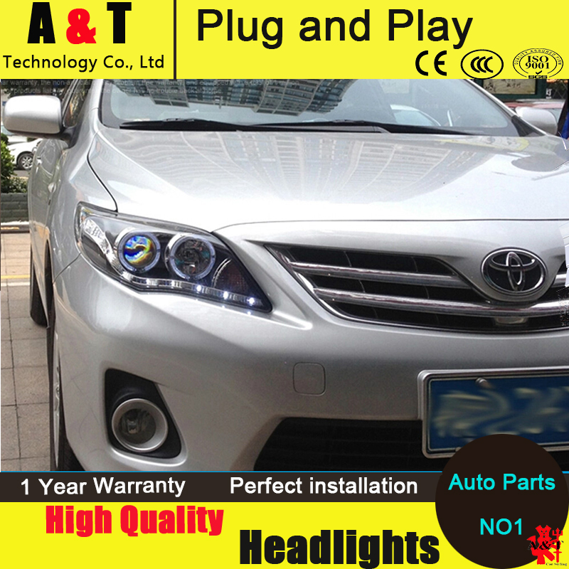 Car Styling LED Head Lamp for Toyota Corolla led headlights 2011-2013 angel eyes led drl H7 hid Bi-Xenon Lens low beam brand new superb led cob angel eyes hid lamp projector lens foglights for toyota corolla ex 2013