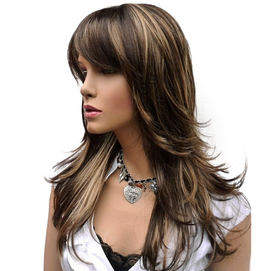 StrongBeauty Women's Synthetic Long Straight Layered Brown with Blonde Highlights Wig