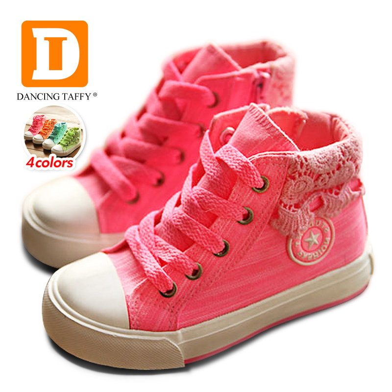 Colorful Girls Shoes 2018 Brand Casual Canvas Rubber Zip Children Shoes Fashion Princess Lace Kids Sneakers High Girls Sneakers ...