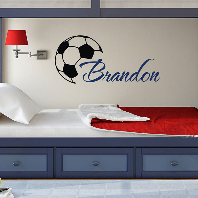 Custome Boys Name Wall Decals With Soccer Art Wall Stickers Personalized Home Kids Room Decor Vinyl Wallpaper DIY Poster 3YD16
