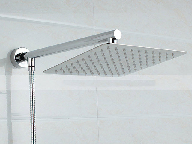 8inch Square Stainless Steel Shower Head Extension With 16 Inch Shower Arm  Bottom Entry Kit 03