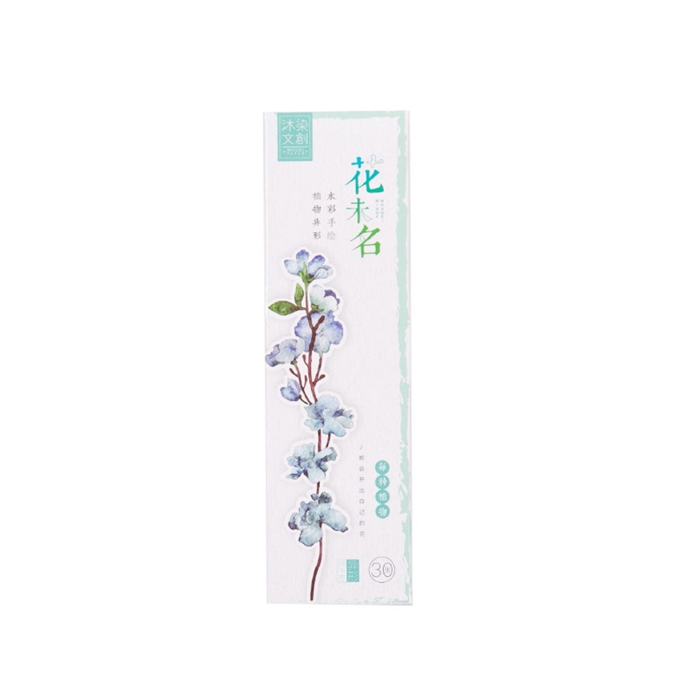 30 Pcs/box New Plants Flower Paper Bookmark Stationery Bookmarks Book Holder Message Card School Supplies
