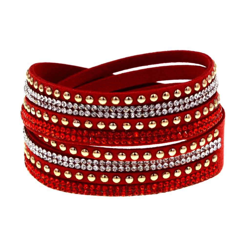 Fashion jewelry gold metal stud red rhinestone wrap slake bracelet