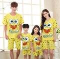 Семьи соответствующие платье летом губка боб пижамы комплект хлопка пижама / Pijama / Pyjama / Nighwear / Pigiama для мужчин / женщин / девочек / мальчиков