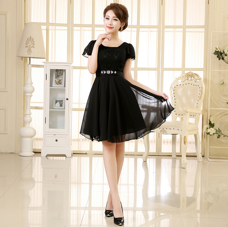 Simple Wedding Dresses For Fall: Short Elegant Simple Prom Dresses Ladies Party Dress Black