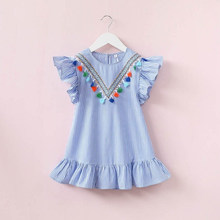 New Kids Girl Dress Striped Tassel Ruffles Sundress Party Princess Dress For Girls Casual Short Sleeve Sweet Dresses Playwear(China)