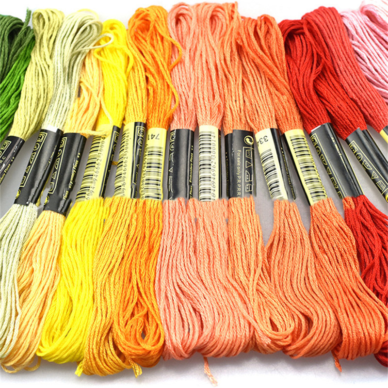 50 pcs Random Color embroidery DIY Silk Line Branch Threads Similar Dmc Thread Floss Skein Cross Stitch Thread 8