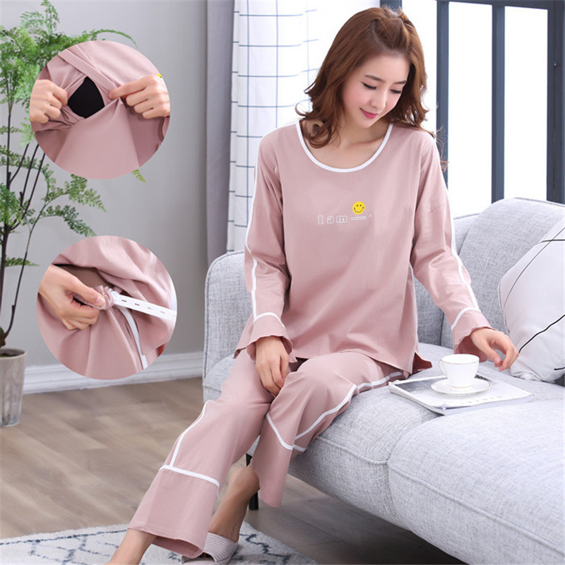 Cotton Maternity Pajamas Set Cardigan+Trousers Turn-down Collar Spring Autumn Pregnant Women Nursing Clothings Nightgown