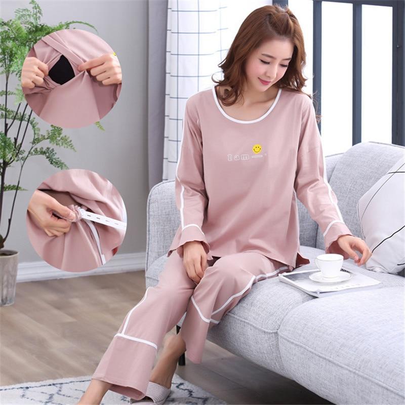 Cotton Maternity Pajamas Set Cardigan+Trousers Turn-down Collar Spring Autumn Pregnant Women Nursing Clothings Nightgown