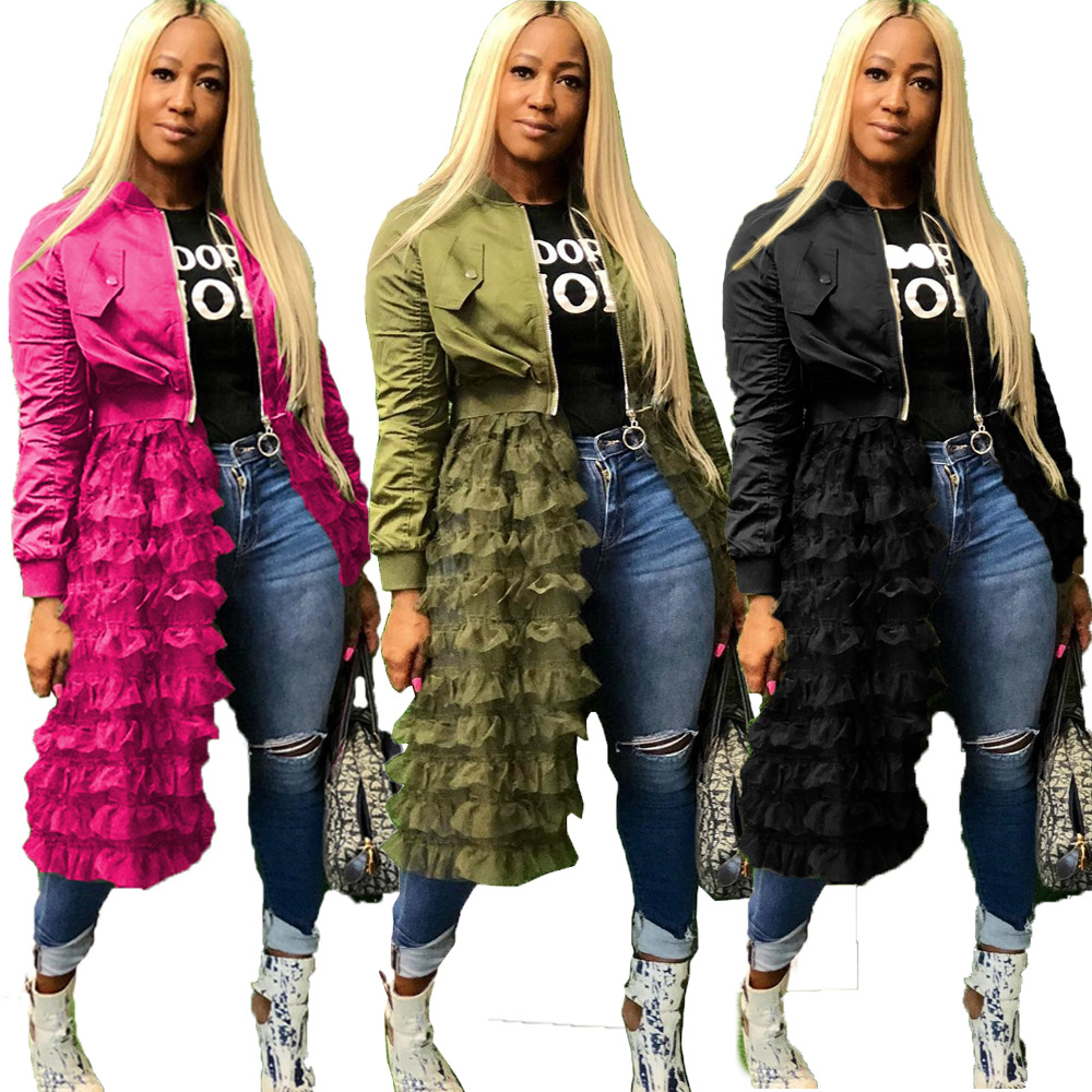 2019 Africa Clothing Women Spring long sleeve cascade ruffles lace patchwork open zipper big swing long trench high street coat