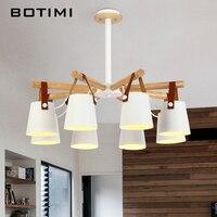 BOTIMI Designer Chandelier Lighting Modern LED Chandeliers With Iron Lampshades 110V 220V Wooden Lustres Foyer Hanging Lighting