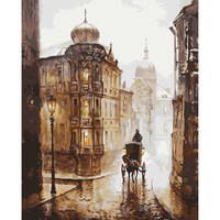 HAOCHU Retro London Street Road Landscape Oil Painting DIY Draw By Number Wall Art Poster Home
