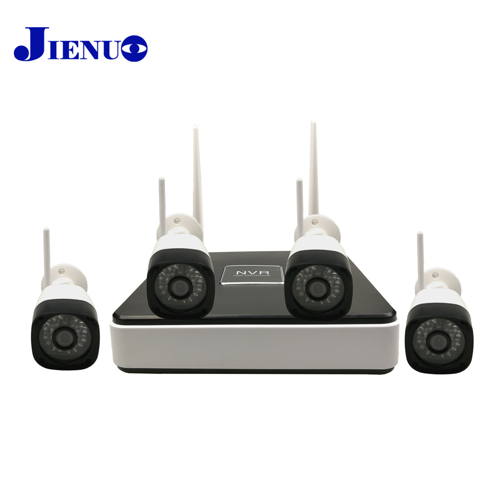 4 Channel Wireless NVR Kit Surveillance Ip Camera Wifi Outdoor waterproof CCTV System 4ch IR Night Vision Security JIENU 4ch cctv system 960h hdmi dvr nvr 4pcs 900tvl ir waterproof outdoor cctv camera home security system surveillance kit 4 channel