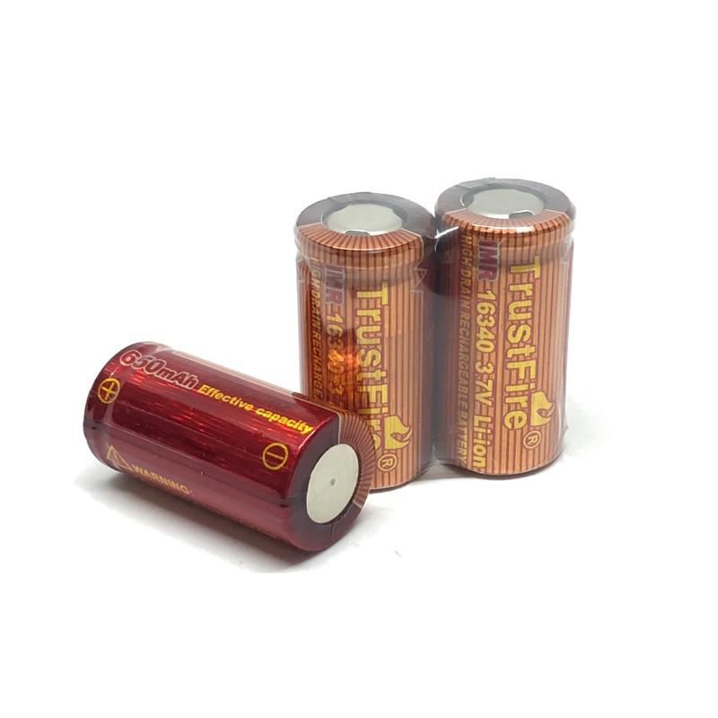 10pcs/lot Trustfire IMR 16340 3.7V 6500mAh real capacity 20A Li-ion Rechargeable Lithium Battery for E-cigarette Flashlights