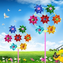Colorful DIY Sequins Windmill Wind Spinner Home Garden Yard Decoration Kids Toys 95AE