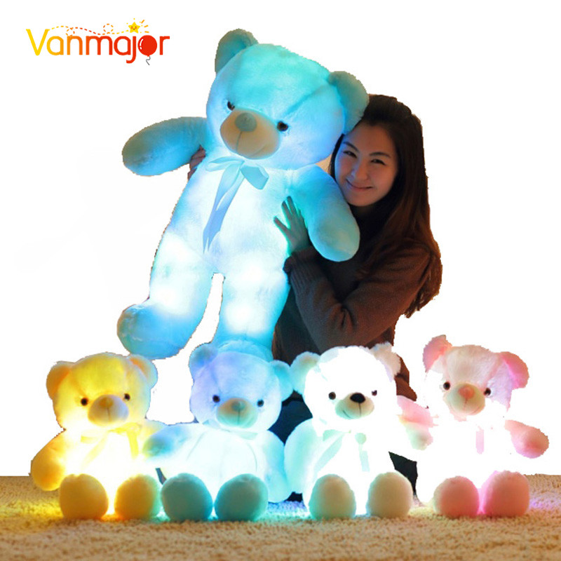 50cm Creative Light Up LED Induktiva Teddy Bear Fyllda Djur Plush Toy Färgglada Glödande Teddy Bear Julklapp för Kids