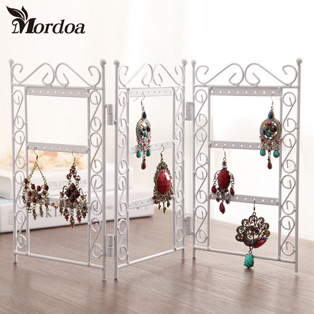 Dangle Earrings Jewelry White Metal Display Stand Holder Rack Mesmerizing Wrought Iron Display Stands