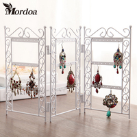 Dangle Earrings Jewelry White Metal Display Stand Holder Rack Jewelry Display Wrought Iron Frame Necklace Pendant