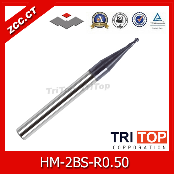 100% Guarantee  solid carbide milling cutter 68HRC ZCC.CT HM/HMX-2BS-R0.50 2-flute tiny ball nose end mills with straight shank  цены