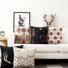Envío Libre!! Moderno abstracto geométrico square throw pillow/almofadas caso adulto adolescente, colorido fundas de colchón negro decore su casa