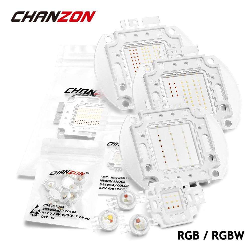 High Power LED Chip RGB / RGBW 3W 10W 20W 30W 50W 100W Red Green Blue White Diode 3 10 20 30 50 100 W Watt COB for Lamp Light