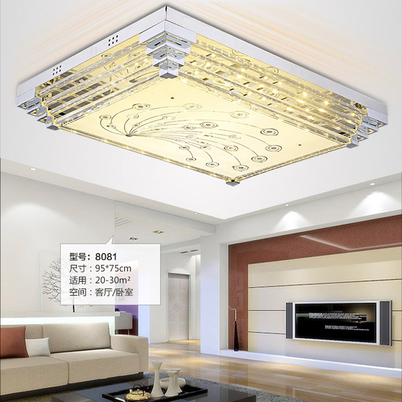 fashion crystal ceiling lamp light fixture 3 color changeable square led ceiling light living room bedroom - Flush Ceiling Lights Living Room