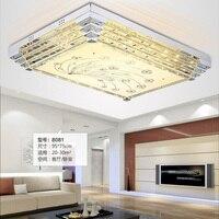 Mode lampe en cristal de plafond luminaire 3 couleur modifiable carré LED plafonnier salon chambre LED encastré lumière