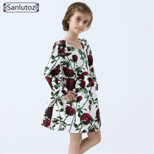 Vestido de las muchachas de Invierno Flores Ropa de Las Muchachas Embroma la Ropa de Marca Niños Vestido de Fiesta de la Princesa Boda Del Niño Del Bebé
