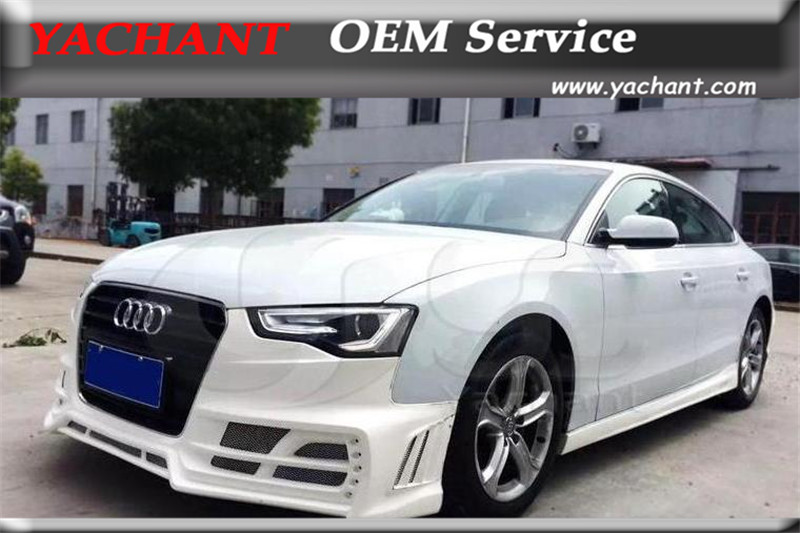 Car Styling Fiber Glass FRP Body Kit Front Bumper Fit For 2012 2014 A5 B8.5 Coupe & Sportback Rowen Style Front Bumper with LED