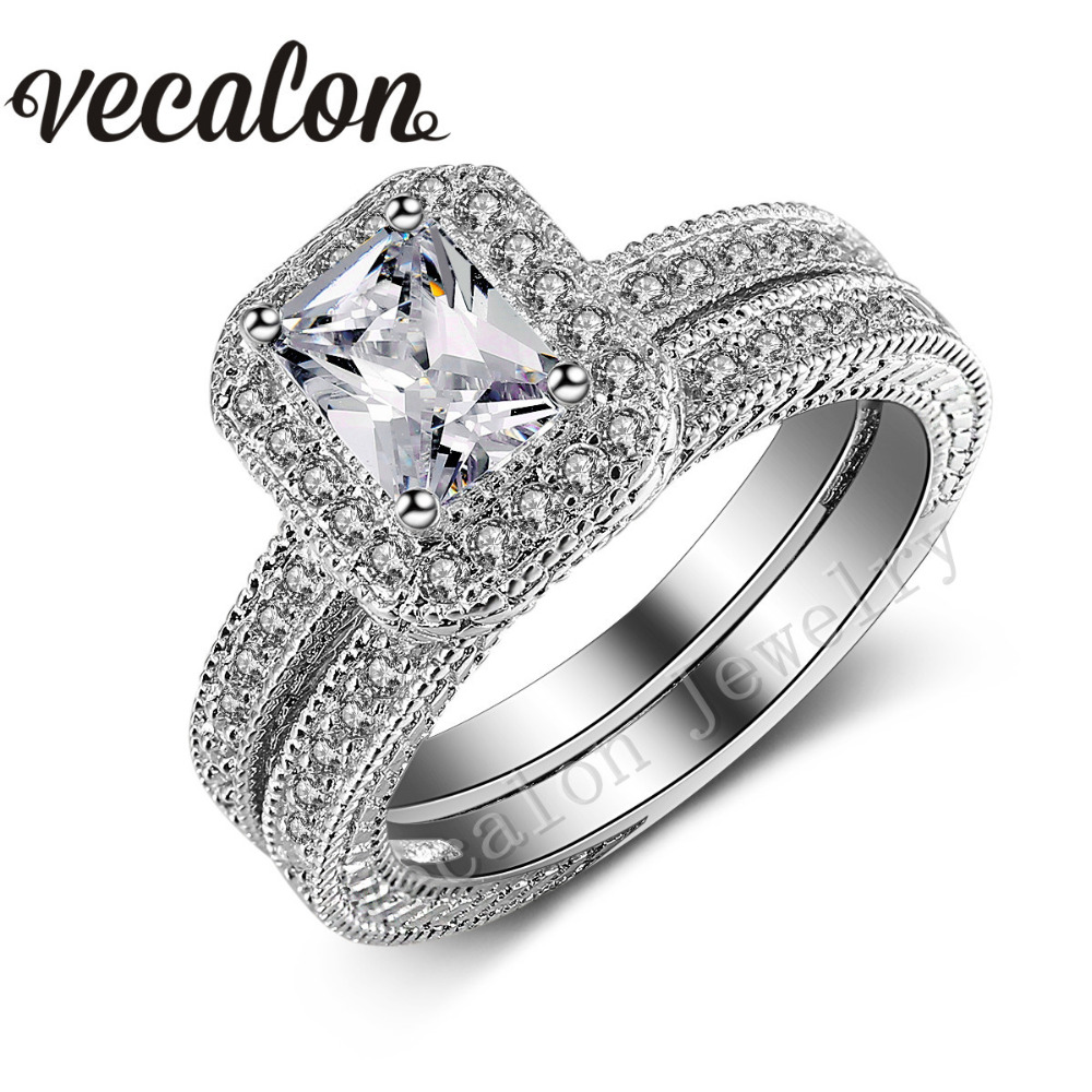Vecalon Antique Jewelry Wedding Band Ring Set for Women 4ct AAAAA Zircon Cz 10KT White Gold Filled Female Engagement ring