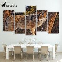 HD Gedruckt 5 Stück Leinwand Kunst Braun Wilden Wolf Malerei Eingerahmt Mauerbilder für Wohnzimmer Dekoration Freies Verschiffen NY-7105A