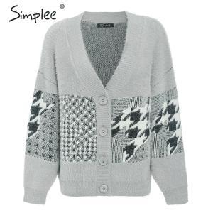 Image 5 - Simplee w stylu Vintage v neck kobiety sweter sweter na co dzień piersi geometryczne szwy znosić sweter jesień zima kobiet swetry rozpinane