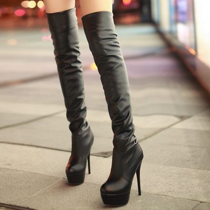 Women Leather Boots Sexy Red Bottom Platform Thigh High Shoes Over The Knee High Heel Boots Black White Brown
