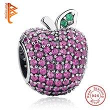 100% 925 Sterling Silver Beads Full Crystal Apple Charms fit Original Pandora Bracelet Necklace