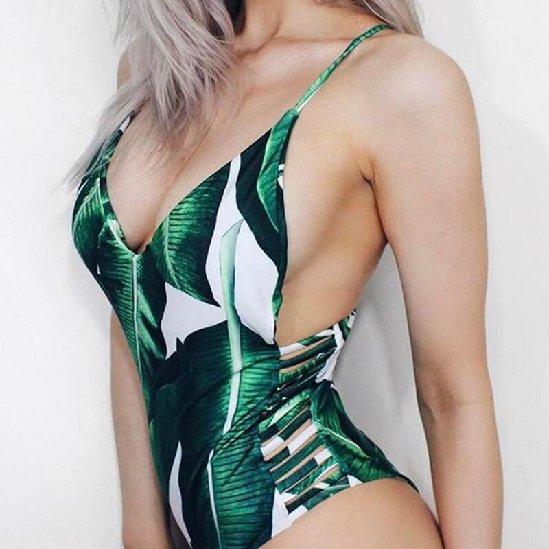 <font><b>Sexy</b></font> Printed Leaf <font><b>One</b></font> <font><b>Piece</b></font> <font><b>Swimsuit</b></font> Female <font><b>Green</b></font> Beach Bathing Suit <font><b>Women</b></font> Bodysuit Push Up Bikini <font><b>Swimwear</b></font> <font><b>Women</b></font> Monokini <font><b>2018</b></font> image