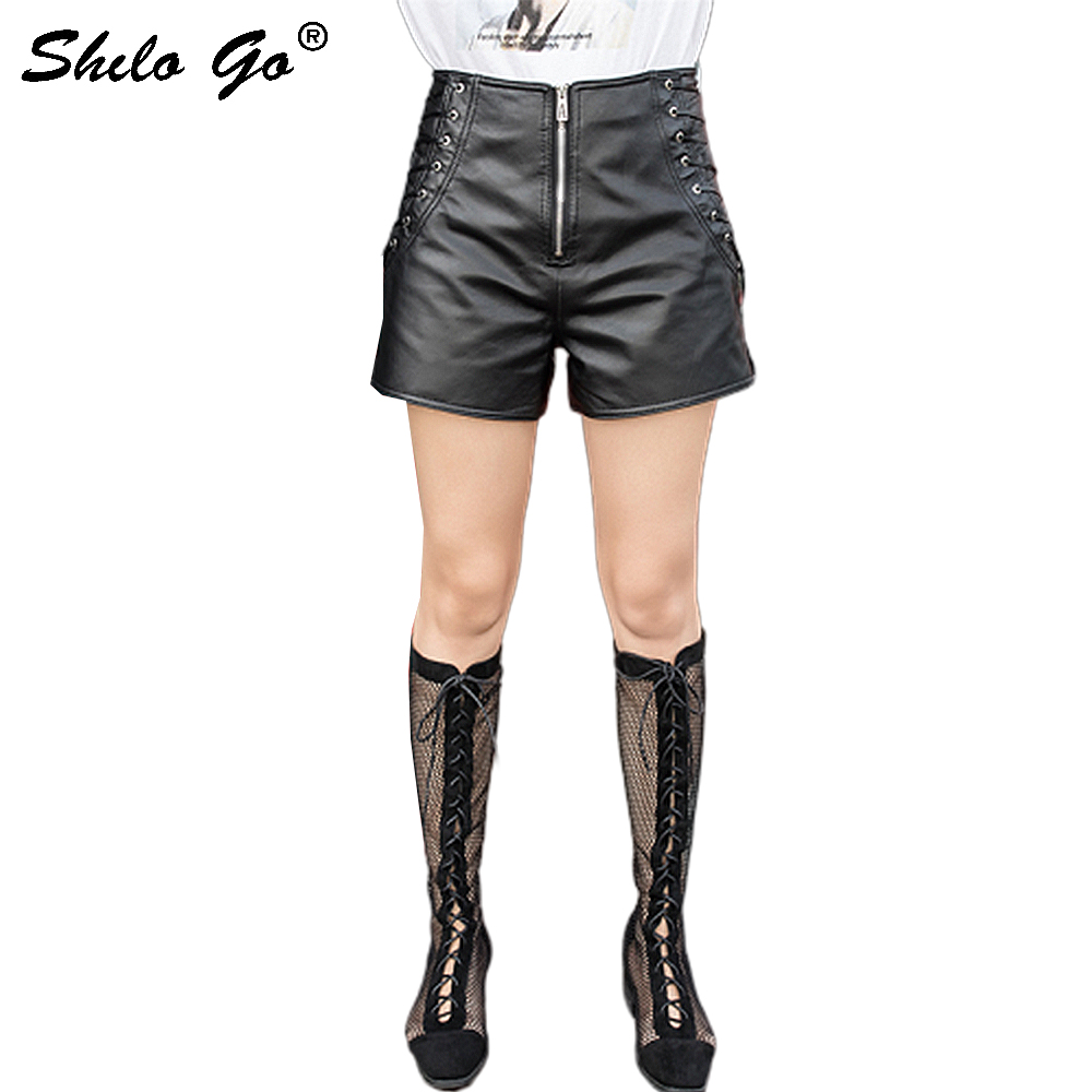 Streetwear Leather Shorts Women Sexy Side Lace Up High Waist Sheepskin Genuine Leather Wide Leg Shorts Front Zip Female Shorts